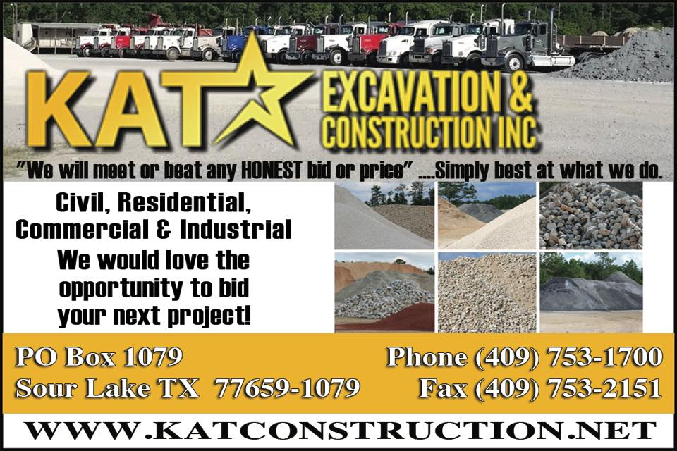 KAT Construction Beaumont, Southeast Texas Pine Ridge Sand, Oil field services Jasper Tx, Oil field services Woodville, Oil field services Warren TX, Oil field services Hillister TX, Oil field services Village Mills TX, Oil field services Big Thicket, Oil field services AGC member, Oil field services AGC of Southeast Texas member, Oil field services AGC SETX member, Oil field services Kountze TX, Oil field services Sour Lake,