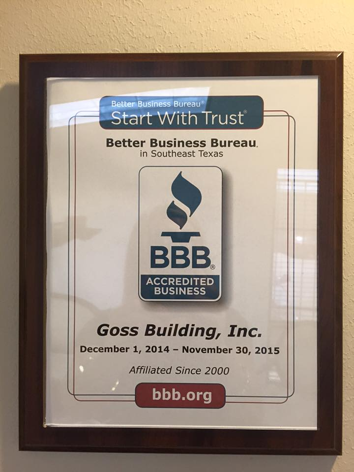 Goss Building Inc., BBB Southeast Texas, BBB SETX, BBB Beaumont Port Arthur