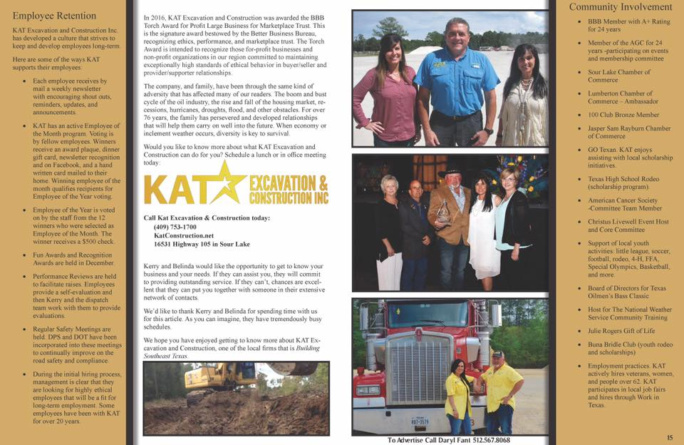 KAt Excavation & Construction, Southeast Texas Commercial Real Estate Magazine, Refined Magazine, oilfield services Beaumont Port Arthur