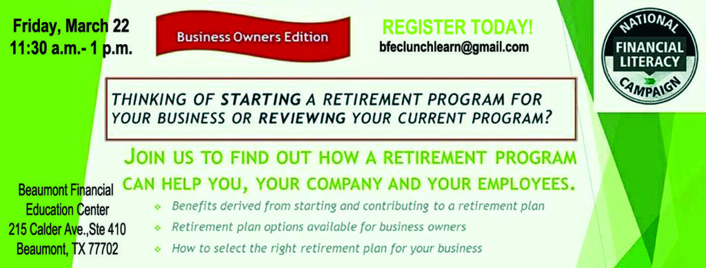 brunch and learn Beaumont, financial planning Beaumont TX, retirement planning Beaumont TX, SETX retirement planning,